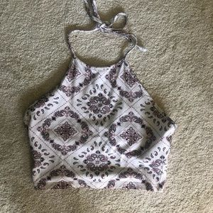Forever 21 Patterned White & Pink Halter Top M